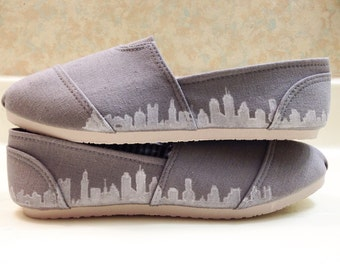 Hand Painted City Skyline Shoes