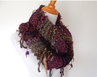 SALE Chunky Knit Scarf - Infinity Scarf - Fringe Knit Cowl Scarf / The Jewel / Imported Fiber Art Scarf