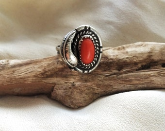 Sterling Silver Vintage Red Coral Navajo Southwestern Ring Size 7