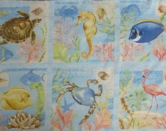 Seaside Wonders~By the Panel~Cotton Fabric, Quilt, Home Decor~Wilmington Prints~28107-457~Fast Shipping,N234
