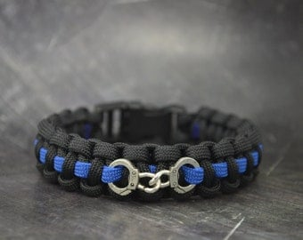 Police thin blue line - 550 paracord survival bracelet  - with handcuff charm - handmade