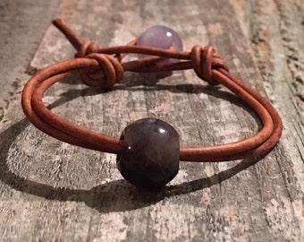 Purple Amethyst Leather Bracelet, Women's leather bracelet, Beaded leather bracelet, Leather jewelry, Gemstone leather bracelet, Item O175