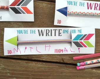 Instant Download DIY Kids Valentine Cards. Pencil Valentine Cards. Printable Valentines for Children. You're the Write one for me.