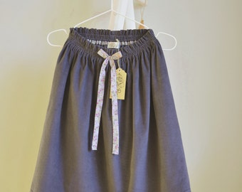 Cotton Corduroy Skirt Gray Girls
