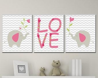 Nursery Art Elephant and Love Wall Art Prints, Pink Gray Nursery Prints Baby Girl Nursery Wall Art Print and Bedroom Decor G112,113 & G114