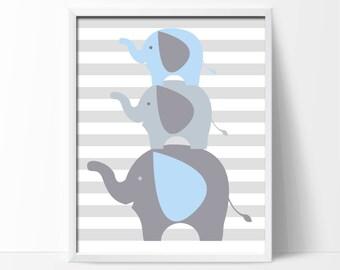 Nursery Baby Boy Elephant Wall Art Print, Elephant Art Print, Baby Boy Nursery Wall Decor Print  -Custom Color - N406- Unframed