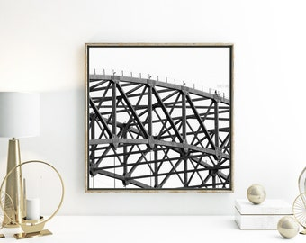 Geometric photograph modern home decor above bed art architecture photo black and white photography monochrome wall art urban grey room art