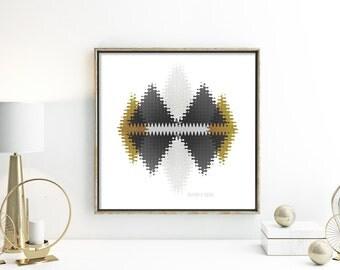 Abstract poster mountain wall print modern home decor print dark grey wall decor mustard office poster grey yellow decor triangle print