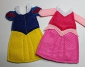 Snow White and Sleeping Beauty Dresses Felt Quiet Book Princess Dress Up Doll (Dresses Only)