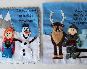 Frozen Elsa, Anna, Kristoff, Olaf and Sven Felt Quiet Book Princess Page PATTERN (Removable Dolls, Two Page Spread)