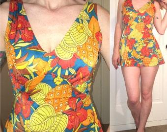 Vintage 70's Tropical Print SHEATH SWIM Suit ROMPER