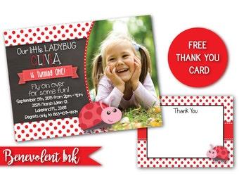 Ladybug Birthday Party Invitation - Printable Ladybug Theme Girls Party Invite - Ladybug Theme - Birthday Girl Party Ideas