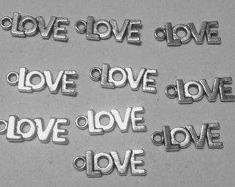 10 charms LOVE in hypoallergenic metal silvered. 20 mm.