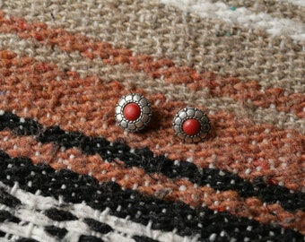 Vintage Sterling Silver and Red Stone Earrings