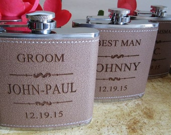 Fast Shipping - Personalized Groomsmen Gift, 1 Leather Engraved Flask, Groomsmen Flasks, Man of Honor Gift, Bridesman GIft