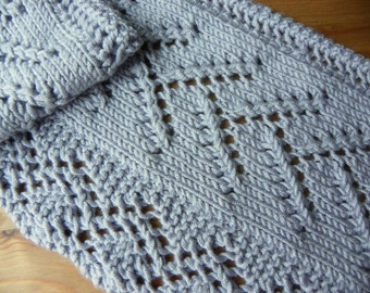 Hand Made Lace Scarf Knit with Silver Gray Yarn