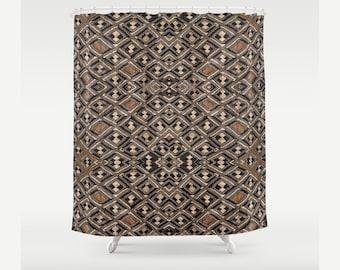 African Art Design - Shower Curtain / Exclusive Kuba Cloth Design #2 / Polyester