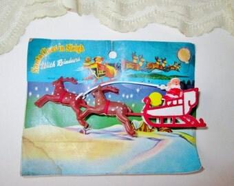 Christmas Santa Sleigh & Reindeer Ornament Vintage Miniature Santa Sleigh Set Holiday Ornament Home Decor Cake Top Decoration Tree Ornament