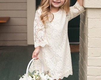 LACE DRESS for baby, toddler, little girls or big girl Dress, Girls Spring Dress, Easter Dress, Blush Pink, White, or Ivory Flower Girl