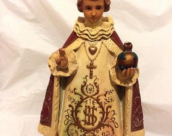 Antique Large Catholic Infant Of Prague Church Statue