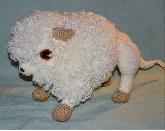 "White Buffalo / Bison - Handmade Amigurumi Crochet Buffalo - Large 15""x11"""