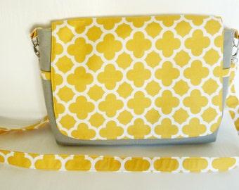 Yellow and Grey Messenger Bag, Canvas Messenger Bag, Cross Body bag, Shoulder Bag, Grey Canvas Bag, Laptop Bag, Every Day Bag, Nappy Bag