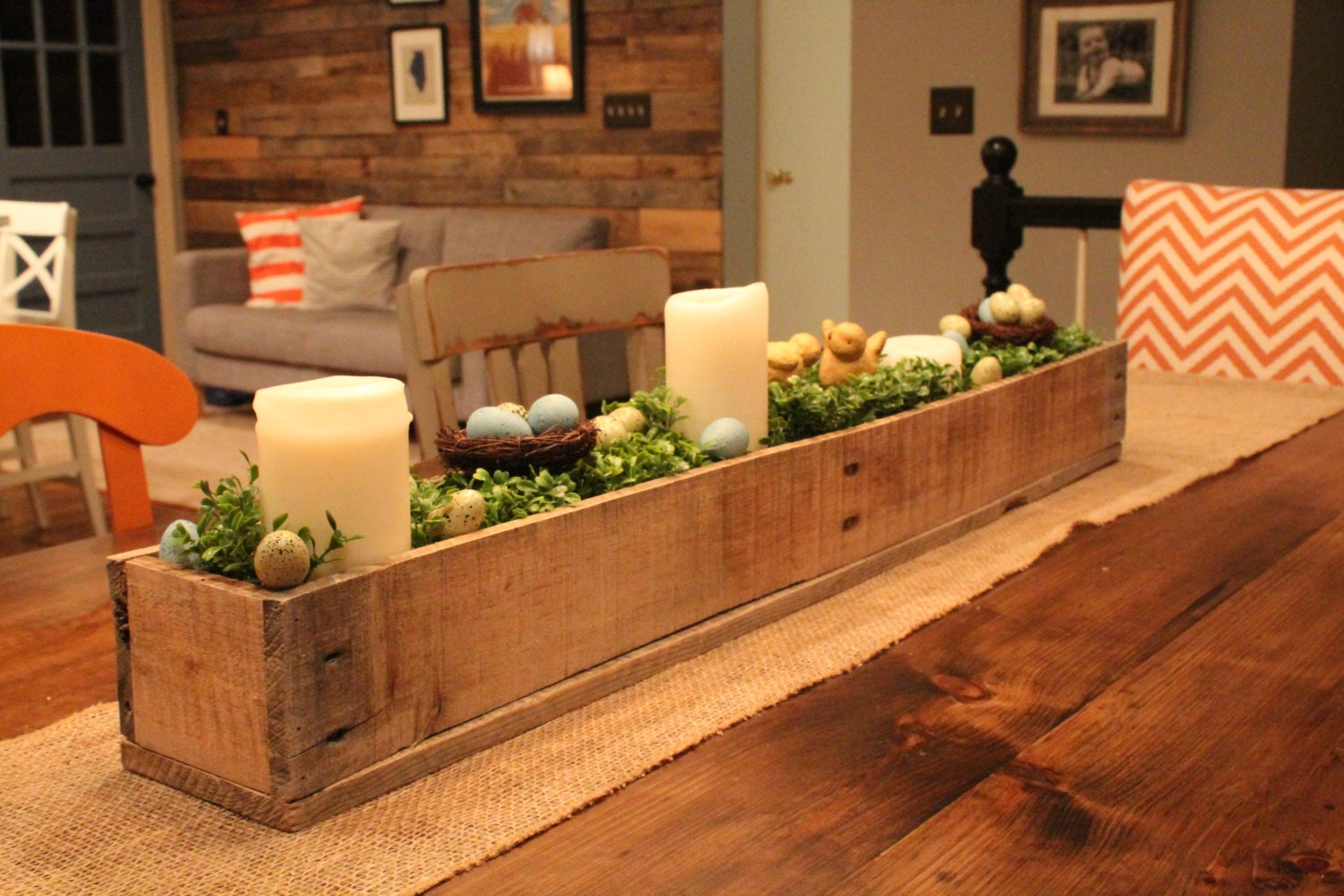 Centerpiece box made of rustic reclaimed wood planter