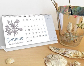 2017 Printable desk Calendar 21x10 cm, original floral illustrations, Instant Downloads