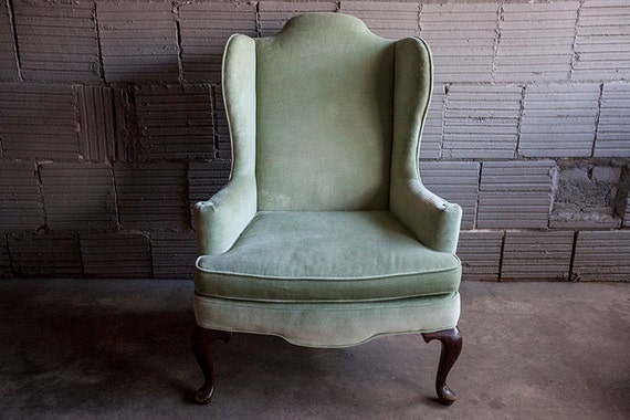Vintage Velvet Wingback Mint Green Chair