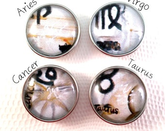 Zodiac Abstract Signs Snap Jewelry Snap Bracelet Snap Charms Noosa Style Chunk Snap Charm Popper Snap Ginger Snaps Price is for one Snap.