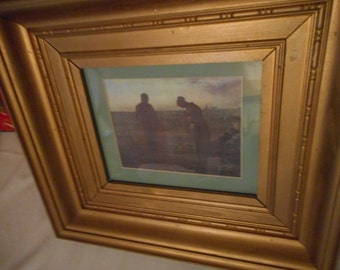Vintage The Angelus Print Solid Wood Frame 18.5 x 16.25 Farmers in Field