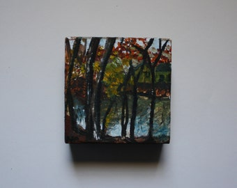 """woods and lake view oil painting on 4x4"""" box canvas"""