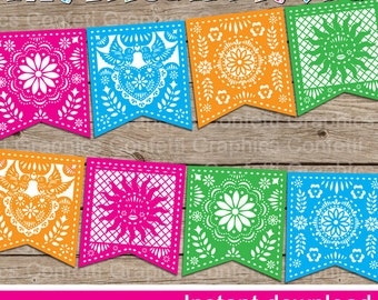 Mexican Fiesta Banner, Bunting, Birthday Party, 5 de Mayo, May 5,  Pennant, Party Decor, Papel Picado, DIY Printable - INSTANT DOWNLOAD