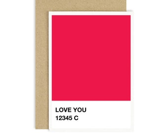 Pantone Swatch Wall Art,Red Print,Valentines Day Card,Pantone Print,Pantone Swatch,Love Printable,Love Scrapbooking,I Love You,Handmade Card