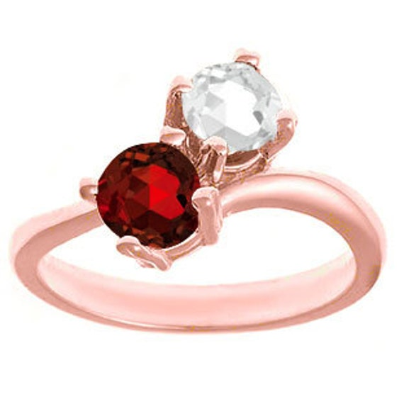 Etsy Birthstone Two Stone Ring