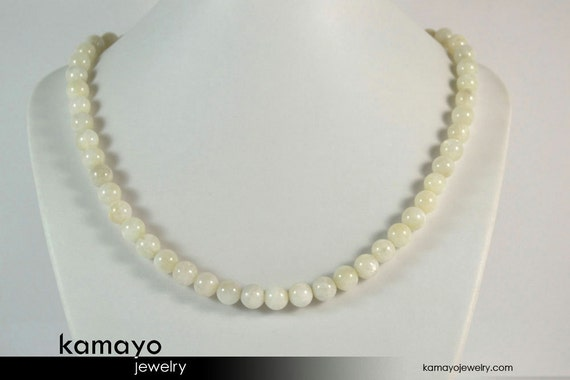 WHITE MOONSTONE NECKLACE for Men - Mens' Beaded Choker - Round Real Moonstone Beads - 14K Gold Filled Findings - 18.5 Inches