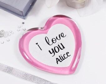 I Love You Glass Heart - Anniversary Love Gift - I love you trinket - Glass heart gift - I love you gift - Anniversary Gift - Keepsake Heart