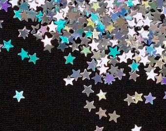 solvent-resistant glitter shapes-silver hologram extra-small stars