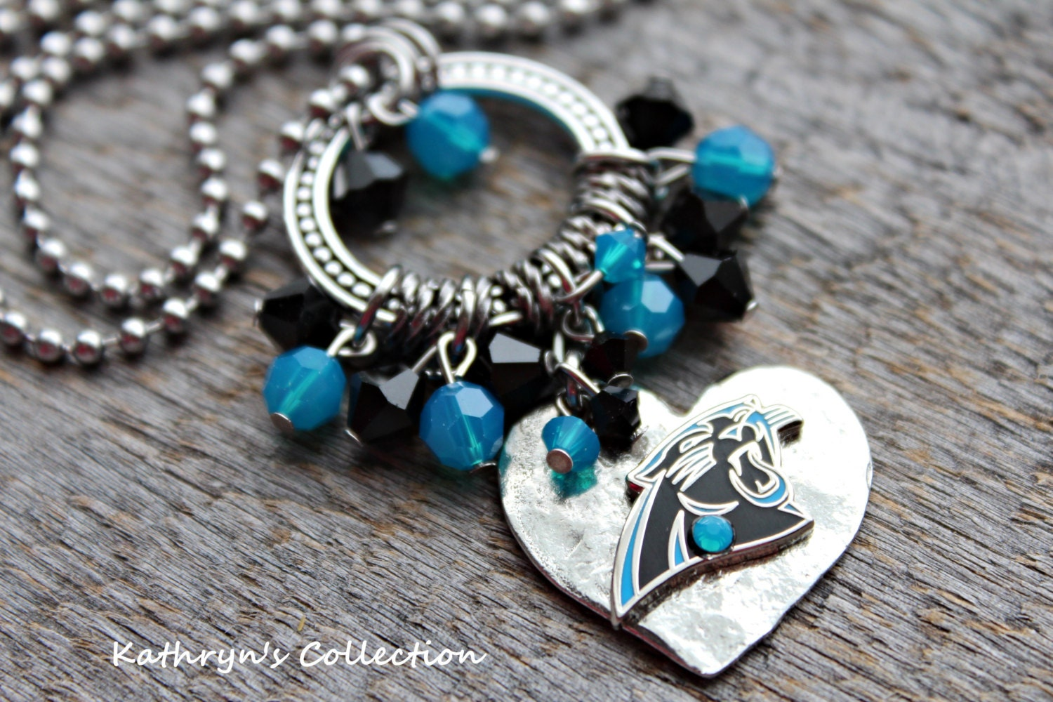 carolina panthers necklace panthers jewelry panthers fan. Black Bedroom Furniture Sets. Home Design Ideas