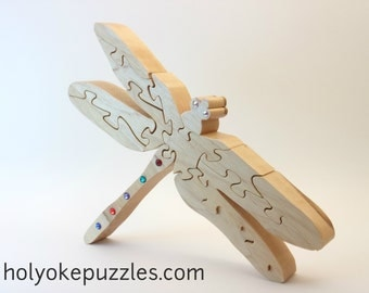 Dragonfly wooden jigsaw puzzle with Swarovski Crystals