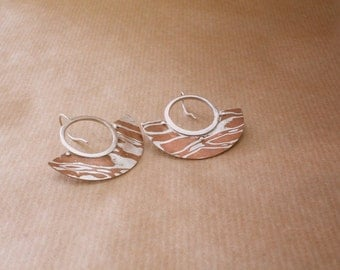 Crescent mokume earrings