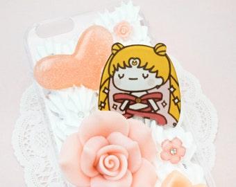 READY TO SHIP Kawaii Chibi Sailormoon Pink Whipped Cream Handmade Custom iPhone 6/6S Decoden Case