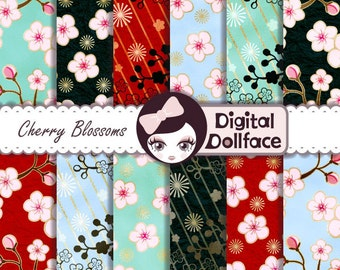"Japanese Digital Paper, ""Cherry Blossom"" Digital Paper, Art Printables (Pattern Design) Scrapbook Paper"