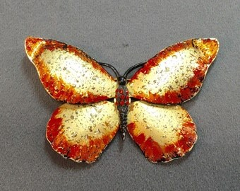 Big Bold Orange Butterfly Brooch-Free shipping