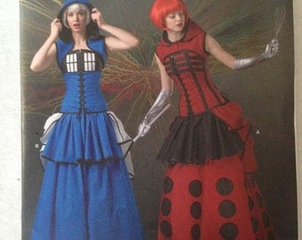 Simplicity Pattern 1095, Womans Tardis costume, corset, hood and skirt, science fiction costume pattern