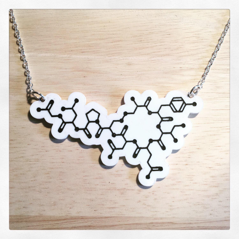 oxytocin molecule acrylic necklace
