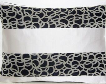 Black and Silver Cushion Cover Pillow Throw Case Designers Guild Silk Fabric Svoboda