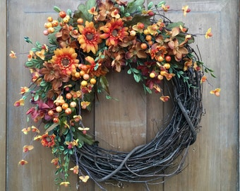 Autumn Floral and Berry Wreath