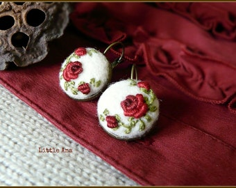 Rose Garden Earrings - White and Red - needle felted earrings, embroided earrings, gift ideea, handmade jewelryne