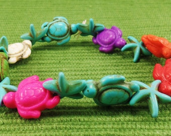 Turtle Bracelet-Rainbow Sea  Life Turtle Bracelet-Sea Star Bracelet-Rainbow Colors- Rainbow Bracelet